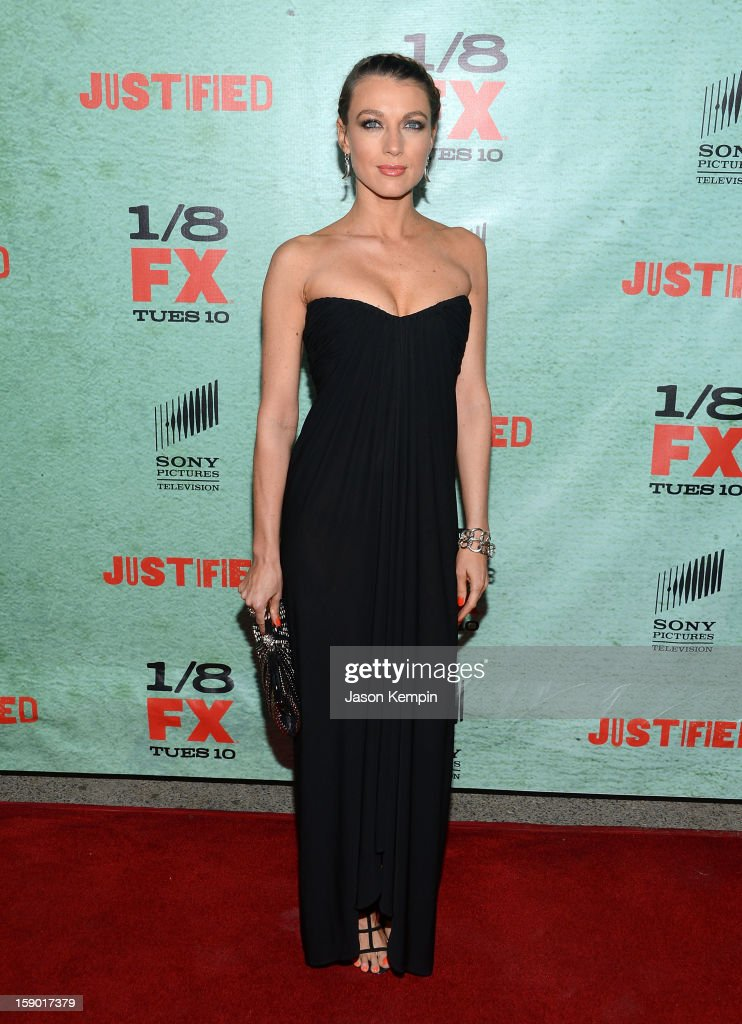 Natalie Zea attends the Premiere Of FX's 'Justified' Season 4 at Paramount Theater on the Paramount Studios lot on January 5, 2013 in Hollywood, California.