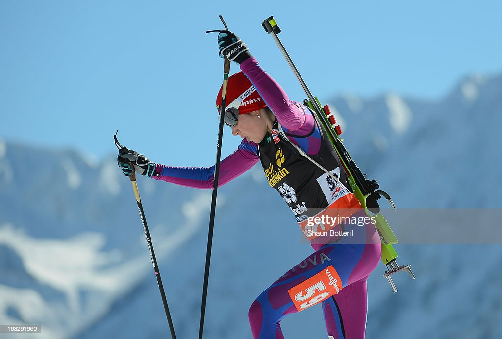 Natalija Kocergina of Lithuania competes in the Women's 15km Individual Event during the E. ON IBU Biathlon World Cup at the 'Laura' Biathlon & Ski Complex on March 7, 2013 in Sochi, Russia.