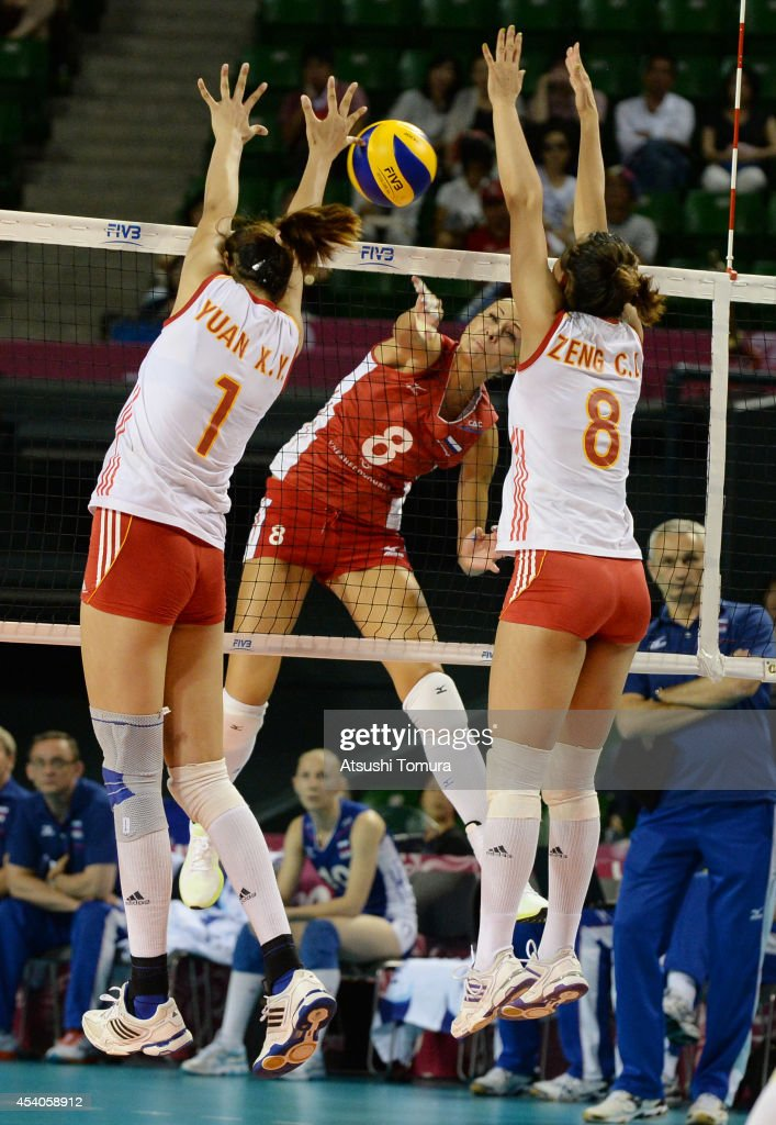 Nataliya Goncharova of Russia spikes the ball during the FIVB World Grand Prix Final group one match between Russia and China on August 24, 2014 in Tokyo, Japan.