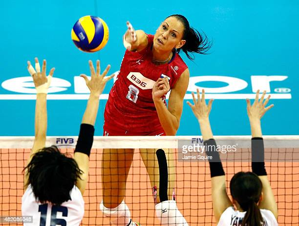 Nataliya Goncharova spikes the ball during the final round match against Japan on day 5 the FIVB Volleyball World Grand Prix on July 26 2015 in Omaha...