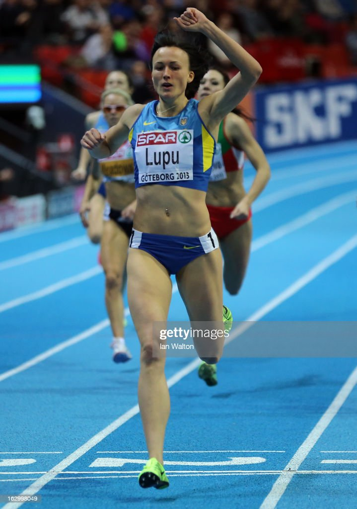 Nataliya Lupu of Ukraine crosses the line to win gold in the Men's 800m Final during day three of European Indoor Athletics at Scandinavium on March 3, 2013 in Gothenburg, Sweden.