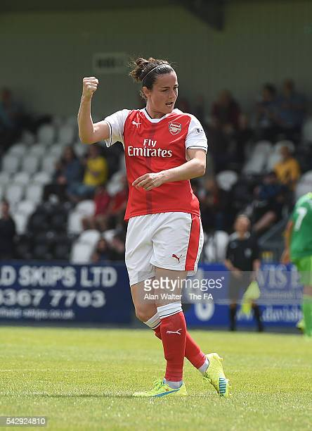 Natalla Pablos Sanchon of Arsenal celebrates scoring their fourth goal during the Arsenal Ladies v Sunderland Ladies WSL match on June 25 2016 in...