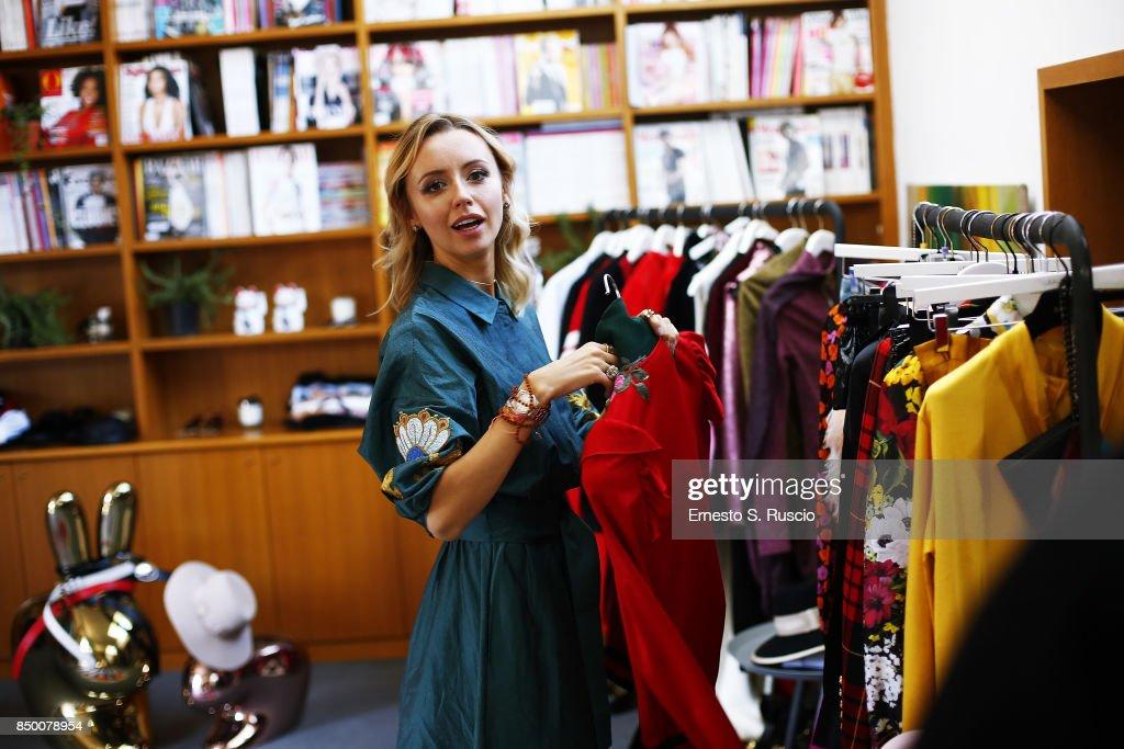 Nataly Osmann is seen during Milan Fashion Week Spring/Summer 2018 on September 20, 2017 in Milan, Italy.