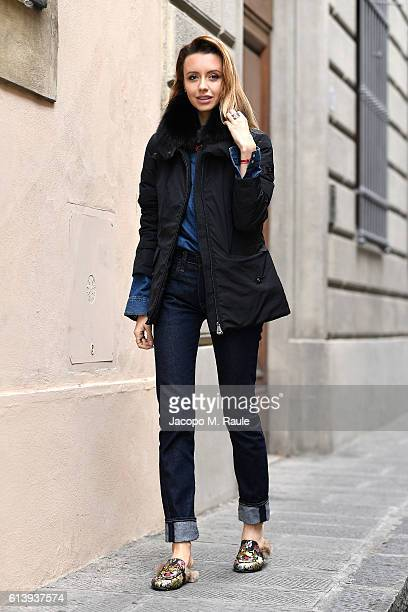 Nataly Osmann is seen wearing Peuterey 'Felicity' jacket on October 9 2016 in Florence Italy