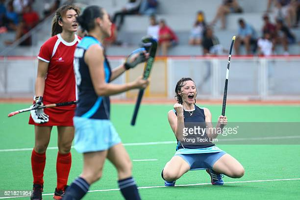 Natalya Gataulina of Kazakhstan celebrates after scoring a goal against Singapore during round 1 of the 2016 Hockey World League at Sengkang Hockey...