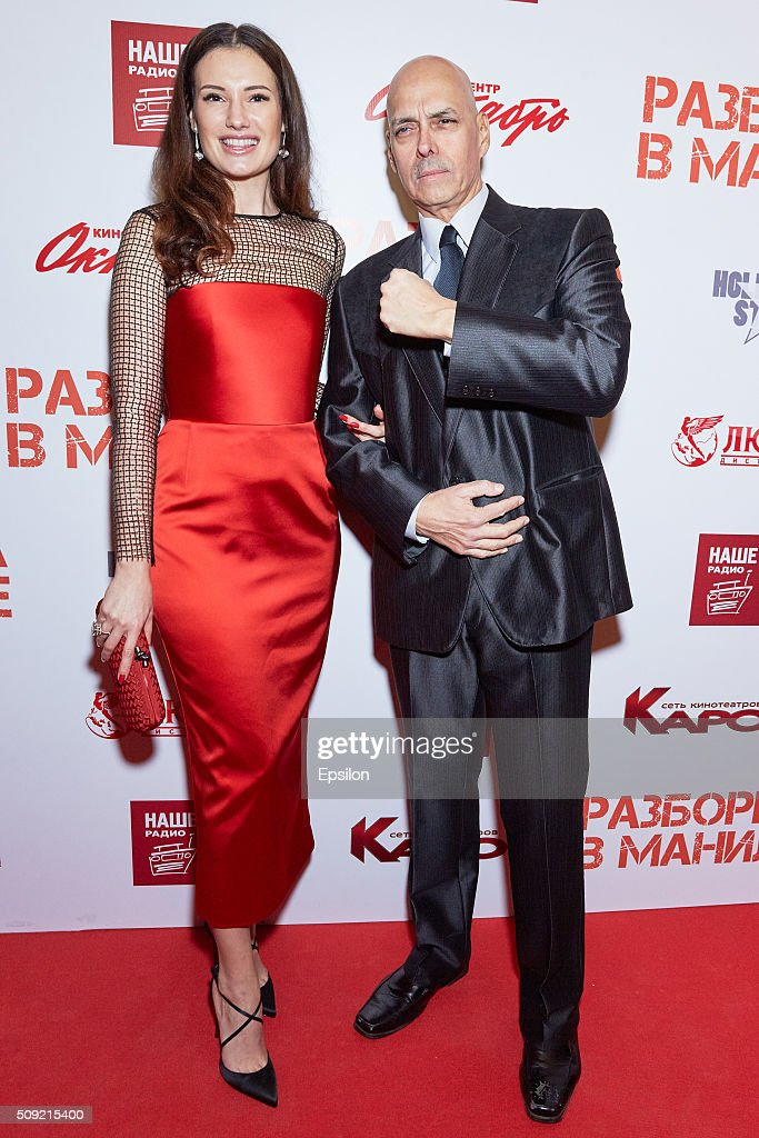 Natalya Gubina and Robert Madrid attend 'Showdown in Manila' premiere in October cinema hall on February 9, 2016 in Moscow, Russia.