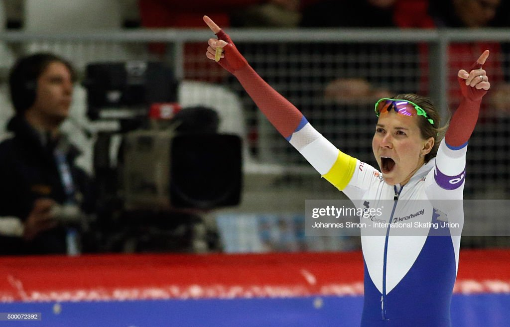 Natalya Voronina (WHITE), <a gi-track='captionPersonalityLinkClicked' href=/galleries/search?phrase=Olga+Graf&family=editorial&specificpeople=8696814 ng-click='$event.stopPropagation()'>Olga Graf</a> (RED) and Elizateva Kazelina (YELLOW) of Russia participate in the ladies team pursuit during Day 2 of the ISU Speed Skating World Cup at the Max Aicher Arena on December 5, 2015 in Inzell, Germany.