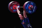 Natalya Zabolotnaya of Russia competes in the Women's 75kg Weightlifting Final on Day 7 of the London 2012 Olympic Games at ExCeL on August 3 2012 in...