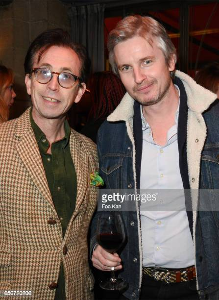 Natan Hercberg and Emmanuel Duverriere from Pernod Ricard attend 'Apero Mecs A Legumes' Party Hosted by Grand Seigneur Magazine at the Bistrot...