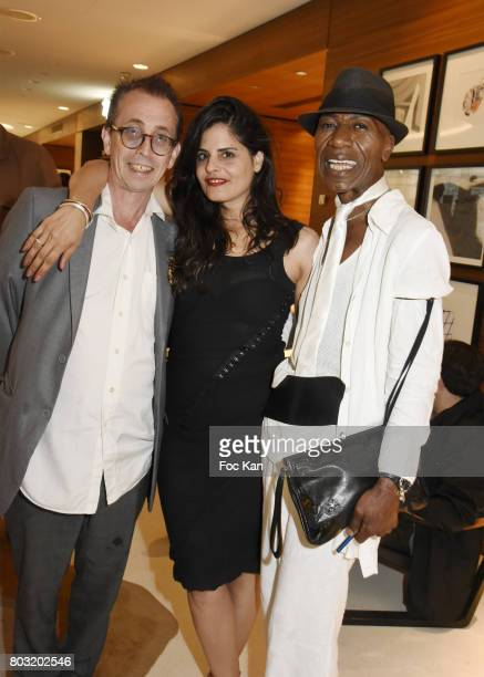 Natan Hercberg Michelle Lee and Dexter Dex Tao attend the Dimensions Lee Michel Exhibition Preview at Hotel Rennaissance on June 28 2017 in Paris...