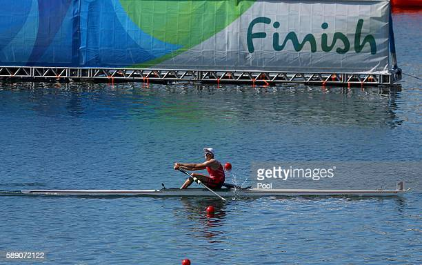 Natan WegrzyckiSzymczyk of Poland competes in the Men's Single Sculls Final B at Lagoa Stadium August 13 2016 in Rio De Janeiro Brazil