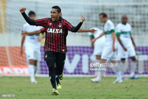 Natanael of AtleticoPR celebrate goal during the match between AtleticoPR and Coritiba for the Brazilian Series A 2014 at Willie Davids stadium on...