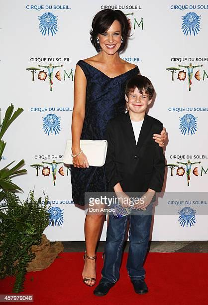 Natarsha Belling and son Harrison arrive at Cirque du Soleil TOTEM Sydney Premiere on October 28 2014 in Sydney Australia