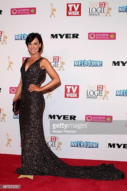 Natarsha Belling arrives at the 2014 Logie Awards at Crown Palladium on April 27 2014 in Melbourne Australia