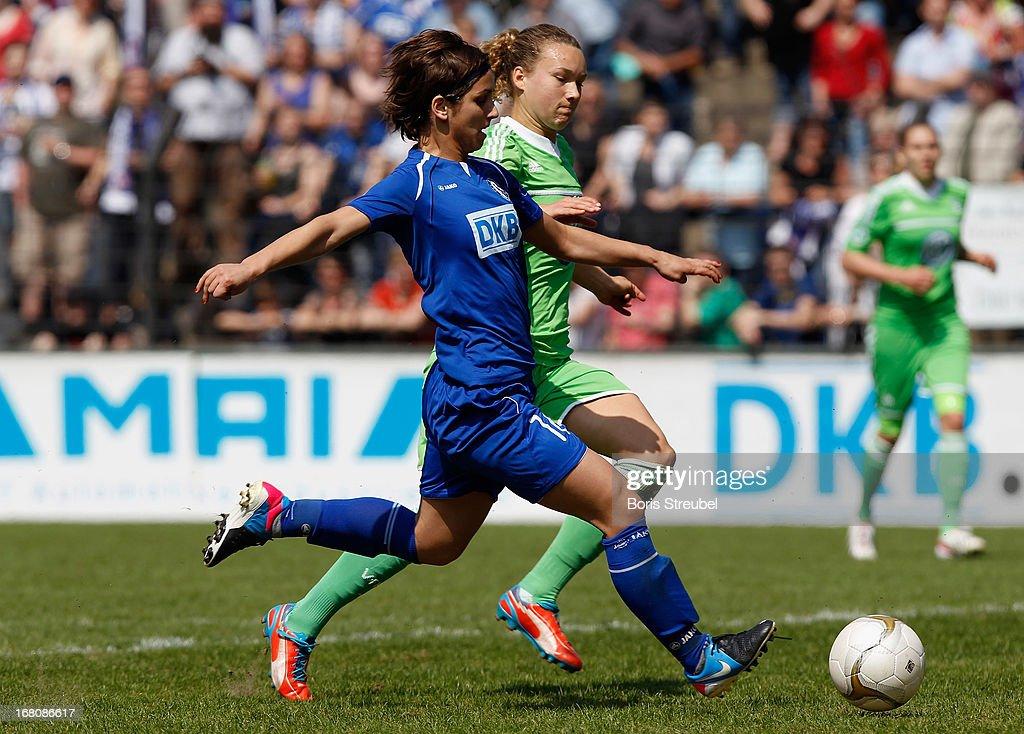 Natasa Andonova of Potsdam (L) scores her team's first goal during the Women's Bundesliga match between 1. FFC Turbine Potsdam and VfL Wolfsburg on May 5, 2013 in Potsdam, Germany.