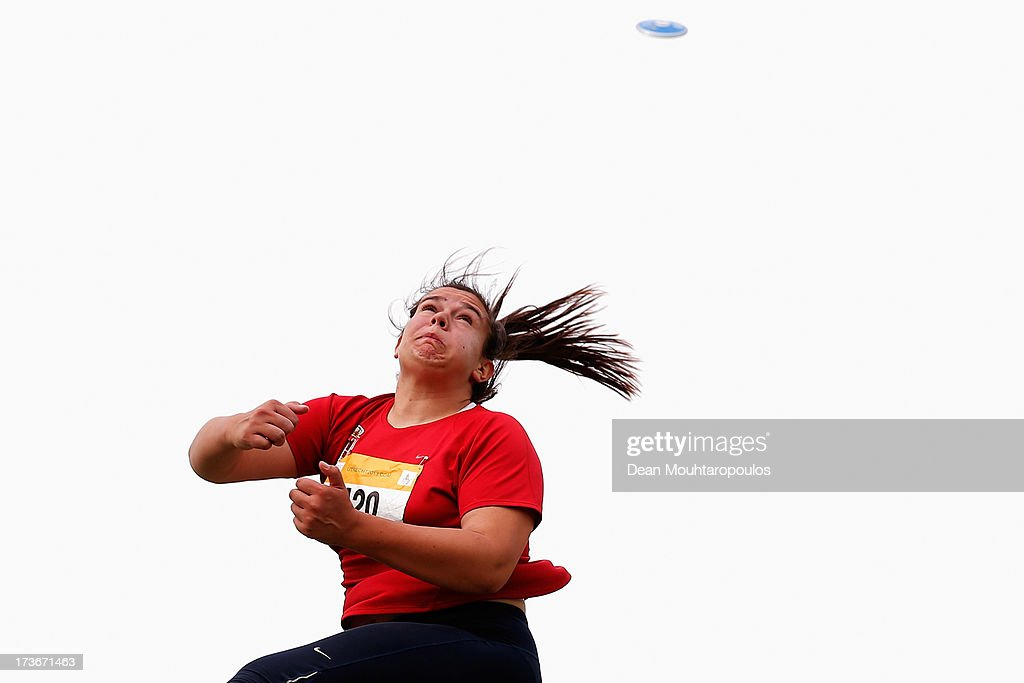 Natasa Djakovic of Serbia competes in the Girls Discus during the European Youth Olympic Festival held at the Athletics Track Maarschalkersweerd on July 16, 2013 in Utrecht, Netherlands.