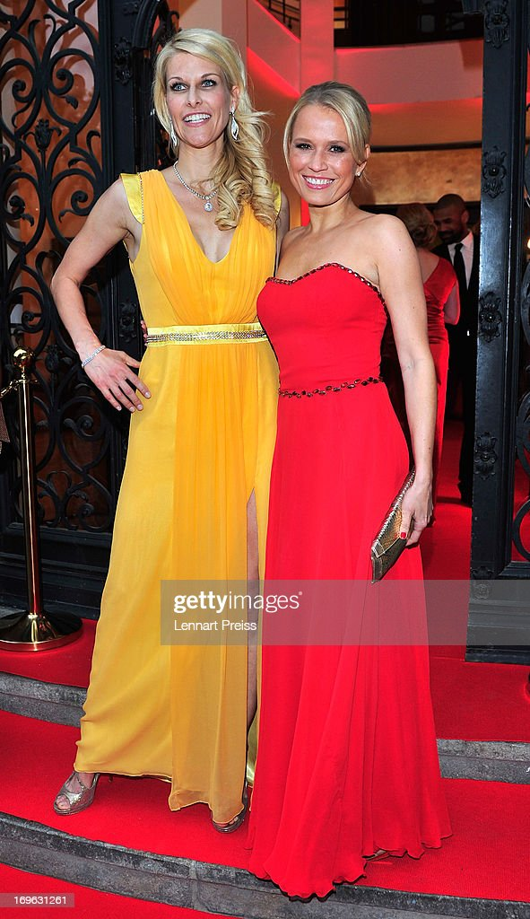 Natascha Gruen (L) and Nova Meierhenrich attend the Dressvegas Party at Heart Private Club on May 29, 2013 in Munich, Germany.
