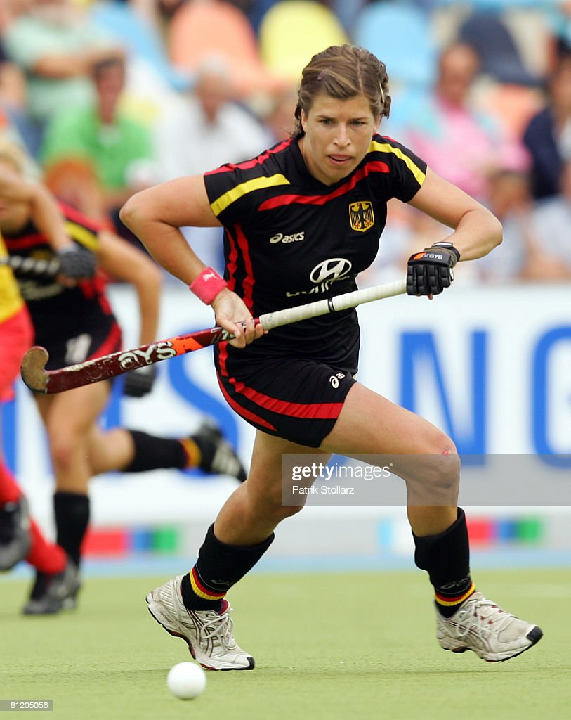 Natascha Keller of Germany runs with the ball during the Samsung Hockey Champions Trophy match between Germany and China on May 22 2008 in...