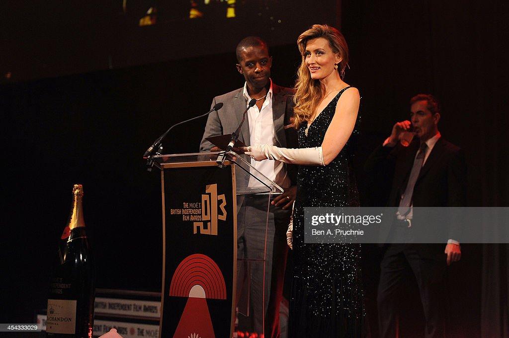 Natascha McElhone (R) and Adrian Lester present the award for Best British Indepedent Film as they attend the ceremony for the Moet British Independent Film Awards at Old Billingsgate Market on December 8, 2013 in London, England.