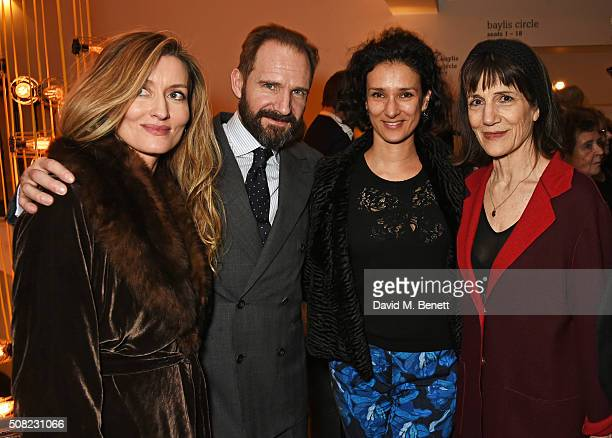 Natascha McElhone Ralph Fiennes Indira Varma and Dame Harriet Walter attend the press night after party for 'The Master Builder' at The Old Vic...