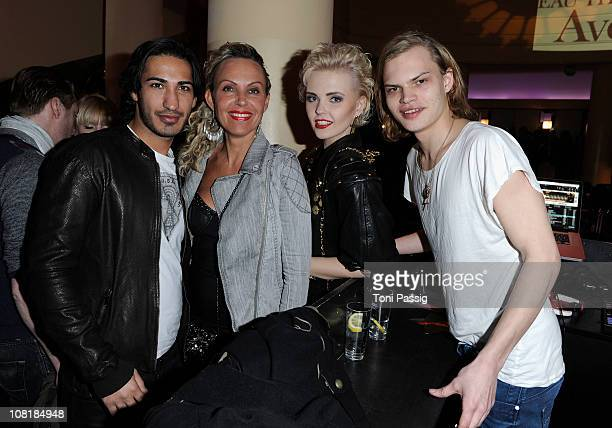 Natascha Ochsenknecht and boyfriend Umut Kekilli poses with son Wilson Gonzalez Ochsenknecht and his girlfiend Bonnie Strange at the Fame Fashion...
