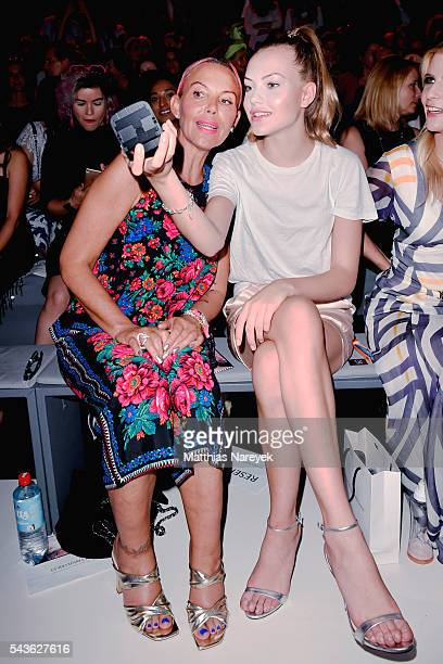 Natascha Ochsenknecht and Cheyenne Savannah Ochsenknecht attend the Guido Maria Kretschmer show during the MercedesBenz Fashion Week Berlin...