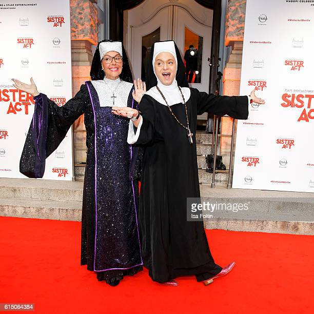 Natascha Ochsenknecht and german actor Julian Stoeckel disguised as nuns at the 'Sister Act The Musical' premiere at Stage Theater on October 16 2016...