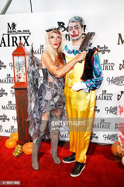 Natascha Ochsenknecht and her son Jimi Blue Ochsenknecht attend the Halloween party by Natascha Ochsenknecht at Berlin Dungeon on October 27 2016 in...