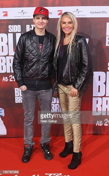 Natascha Ochsenknecht and Jimi Blue Ochsenknecht attend the 'Blutzbruedaz' premiere at CineStar Sony Center on December 14 2011 in Berlin Germany