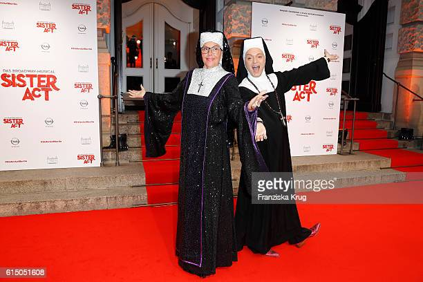 Natascha Ochsenknecht and Julian Stoeckel disguesded as nuns attend the 'Sister Act The Musical' premiere at Stage Theater on October 16 2016 in...