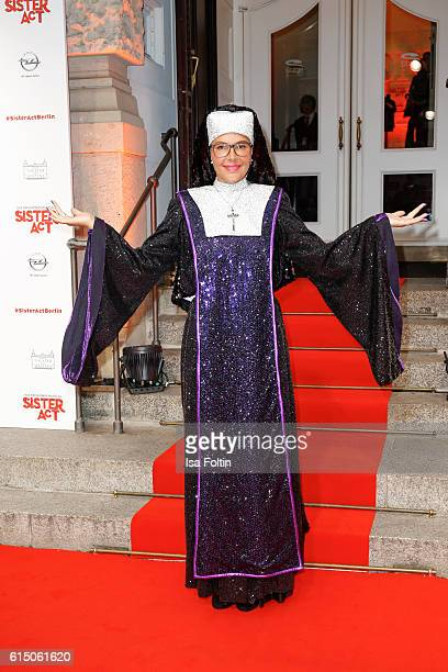 Natascha Ochsenknecht disguised as nun at the 'Sister Act The Musical' premiere at Stage Theater on October 16 2016 in Berlin Germany