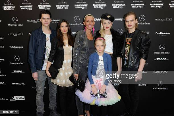 Natascha Ochsenknecht poses with son Wilson Gonzalez Ochsenknecht and his girlfiend Bonnie Strange and son Jimi Blue Ochsenknecht with girlfriend...