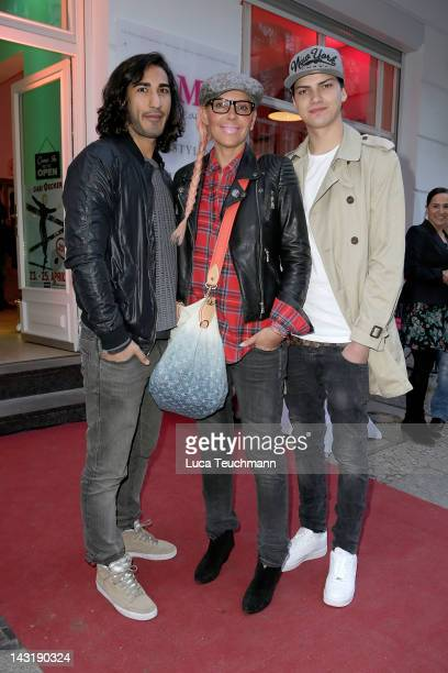Natascha Ochsenknecht Umut Kekilli and Jimi Blue Ochsenknecht attend the Fame be Beautiful opening on April 20 2012 in Berlin Germany