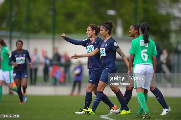 Natasha Andonova of PSG and Cristiane Rozeira of PSG celebrate during the women's National Cup match between Paris Saint Germain PSG and AS Saint...