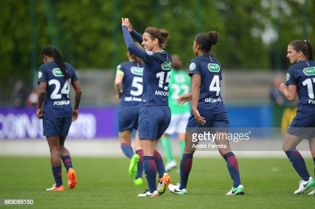 Natasha Andonova of PSG celebrates her goal during the women's National Cup match between Paris Saint Germain PSG and AS Saint Etienne at Camp des...