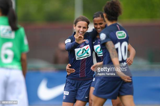 Natasha Andonova of PSG celebrates her goal with Marie Laure Delie of PSG and Cristiane Rozeira of PSG during the women's National Cup match between...