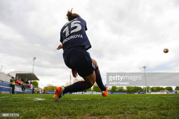 Natasha Andonova of PSG during the women's National Cup match between Paris Saint Germain PSG and AS Saint Etienne at Camp des Loges on April 16 2017...