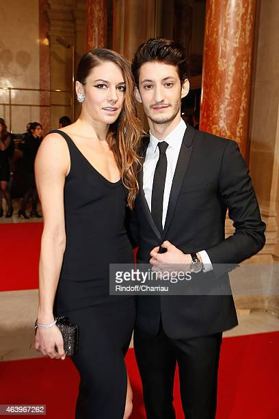 Natasha Andrews and Pierre Niney arrive at the 40th Cesar Film Awards 2015 Cocktail at Theatre du Chatelet on February 20 2015 in Paris France