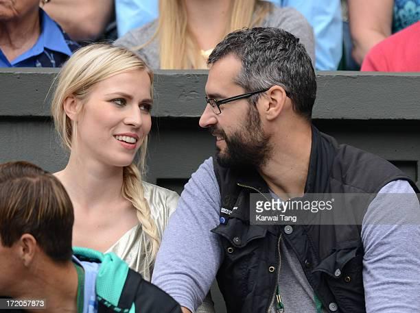 Natasha Bedingfield and husband Matt Robinson attends the Serena Williams vs Sabine Lisicki match on Day 7 of the Wimbledon Lawn Tennis Championships...
