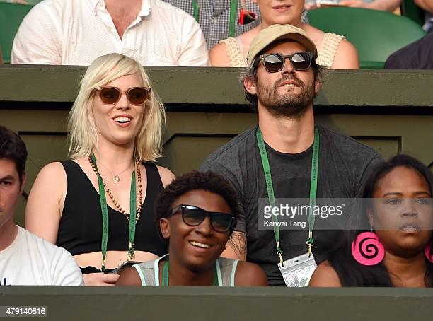 Natasha Bedingfield and Matt Robinson attend the Serena Williams v Timea Babos match on day three of the Wimbledon Tennis Championships at Wimbledon...