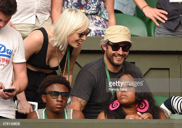 Natasha Bedingfield and Matt Robinson attend the Serena Williams v Timea Babos match on day three of the Wimbledon Tennis Championships at Wimbledon...