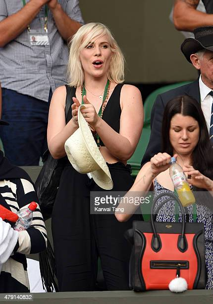 Natasha Bedingfield attends the Serena Williams v Timea Babos match on day three of the Wimbledon Tennis Championships at Wimbledon on July 1 2015 in...