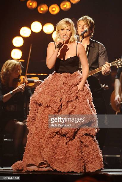 Natasha Bedingfield performs at the 45th annual CMA Awards at the Bridgestone Arena on November 9 2011 in Nashville Tennessee