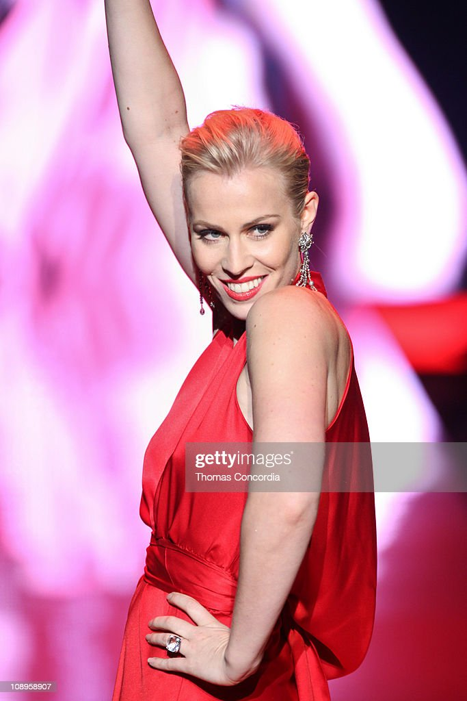 Natasha Bedingfield wearing Nicole Miller at the The Heart Truth's Red Dress Collection fashion show during Mercedes-Benz Fashion Week Fall 2011 at Lincoln Center on February 9, 2011 in New York City.
