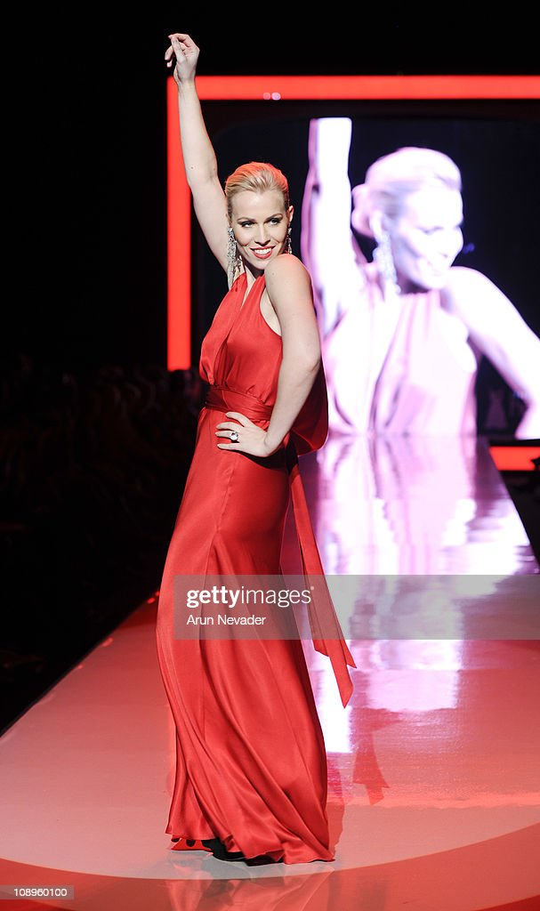 Natasha Bedingfield wearing Nicole Miller walks the runway at the Heart Truth Fall 2011 fashion show during Mercedes-Benz Fashion Week at The Theatre at Lincoln Center on February 9, 2011 in New York City.