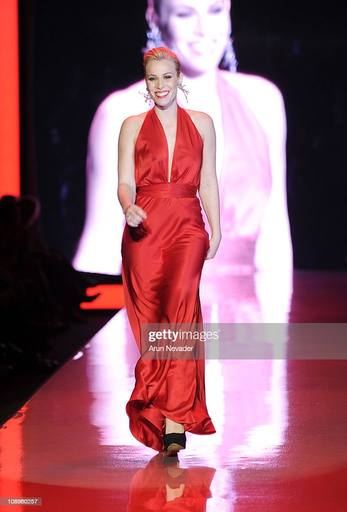 <a gi-track='captionPersonalityLinkClicked' href=/galleries/search?phrase=Natasha+Bedingfield&family=editorial&specificpeople=171728 ng-click='$event.stopPropagation()'>Natasha Bedingfield</a> wearing Nicole Miller walks the runway at the Heart Truth Fall 2011 fashion show during Mercedes-Benz Fashion Week at The Theatre at Lincoln Center on February 9, 2011 in New York City.