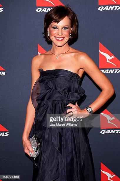 Natasha Belling arrives at Qantas's 90th anniversary gala dinner at the Qantas Sydney jet base on November 12 2010 in Sydney Australia