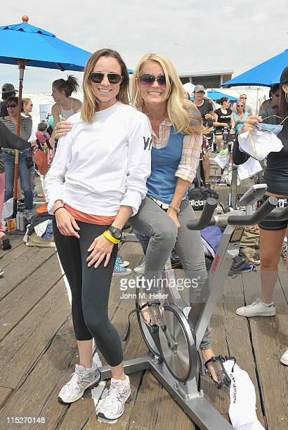 Natasha Brickner and actress Kelly Packard attend the 100 Mile Man Foundation's 'Pedal On The Pier' at the Santa Monica Pier on June 5 2011 in Santa...