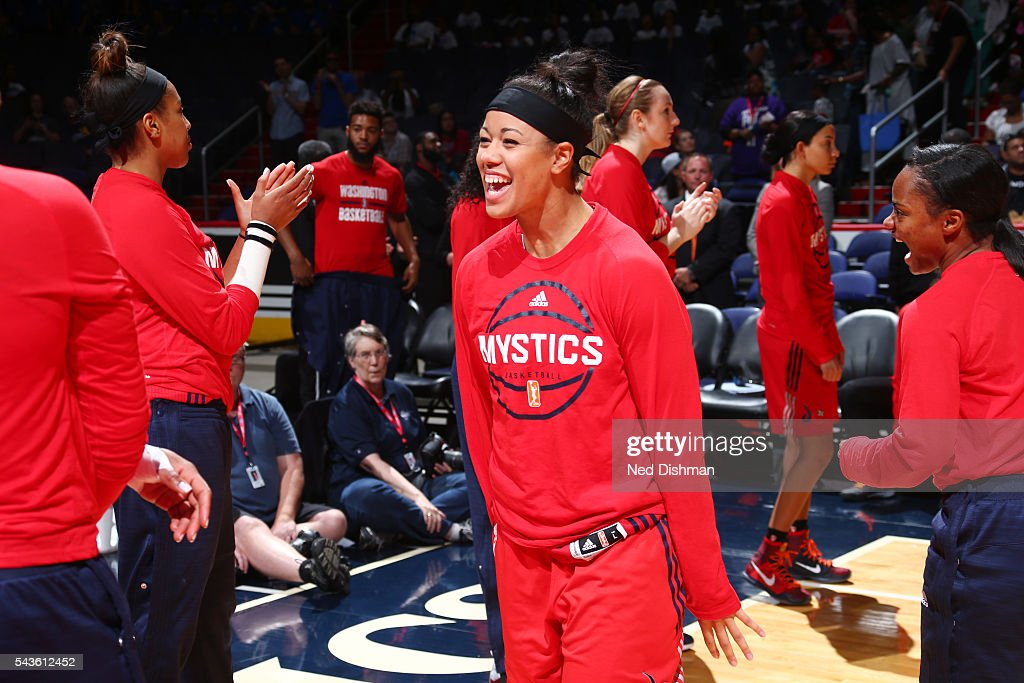 <a gi-track='captionPersonalityLinkClicked' href=/galleries/search?phrase=Natasha+Cloud&family=editorial&specificpeople=7418023 ng-click='$event.stopPropagation()'>Natasha Cloud</a> #15 of the Washington Mystics gets introduced before the game against the San Antonio Stars on June 29, 2016 at the Verizon Center in Washington, DC.