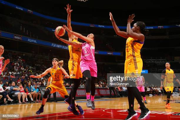 Natasha Cloud of the Washington Mystics goes for a lay up against the Los Angeles Sparks on August 16 2017 at the Verizon Center in Washington DC...